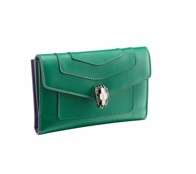 Bvlgari Serpenti 291069 小牛皮蛇頭中款皮夾/錢包  鮮綠色