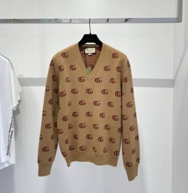 Gucci 男款雙G提花羊毛V領毛衣  S/M/L/XL DIORHOMME