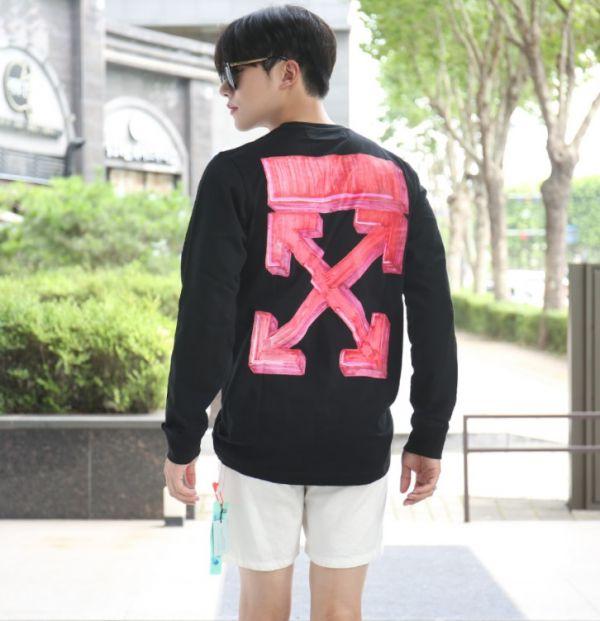 Off White 中性款圓領塗鴉箭頭運動衫衛衣上衣 黑/紅  XXS/XS/S