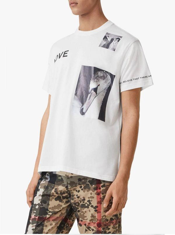 Burberry 男款混合印花天鵝圖案棉質 T 恤 白色  S/M/L/XL