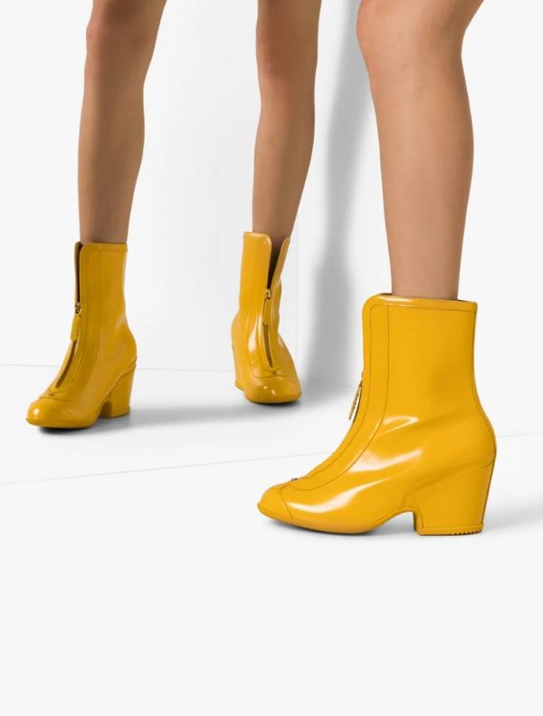 Gucci 漆皮效果女款防水防雨踝靴  黃色    IT36.5/37/37.5/38/38.5/39/40 YSL COLLEGE學院包