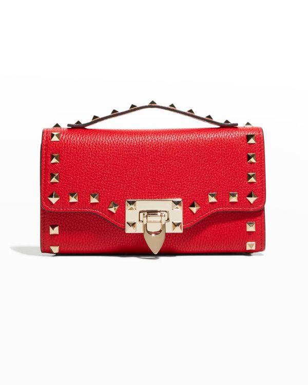Valentino Rockstud 鉚釘裝飾 WOC 迷你鏈帶皮夾 2用包 紅色