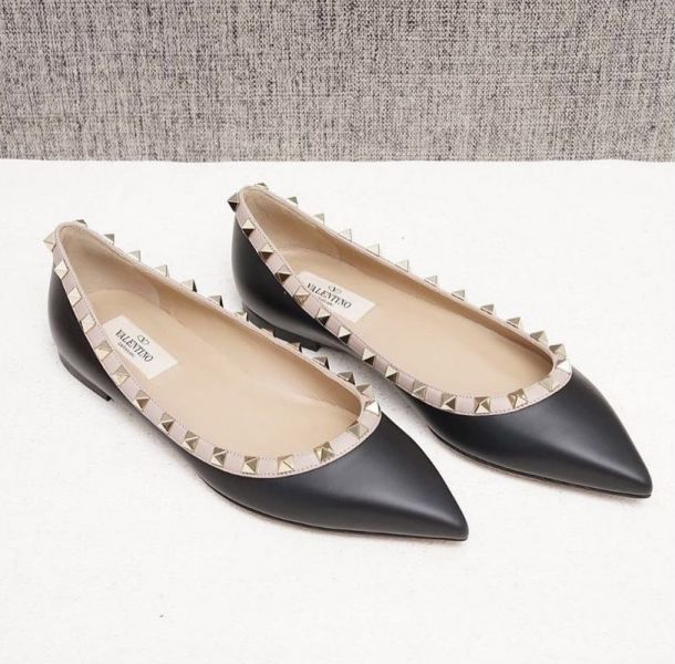Valentino 女款 Rockstud 小牛皮鑲皮邊鉚釘芭蕾平底鞋     黑色    IT 35/36/36.5/37/37.5/38/38.5/39