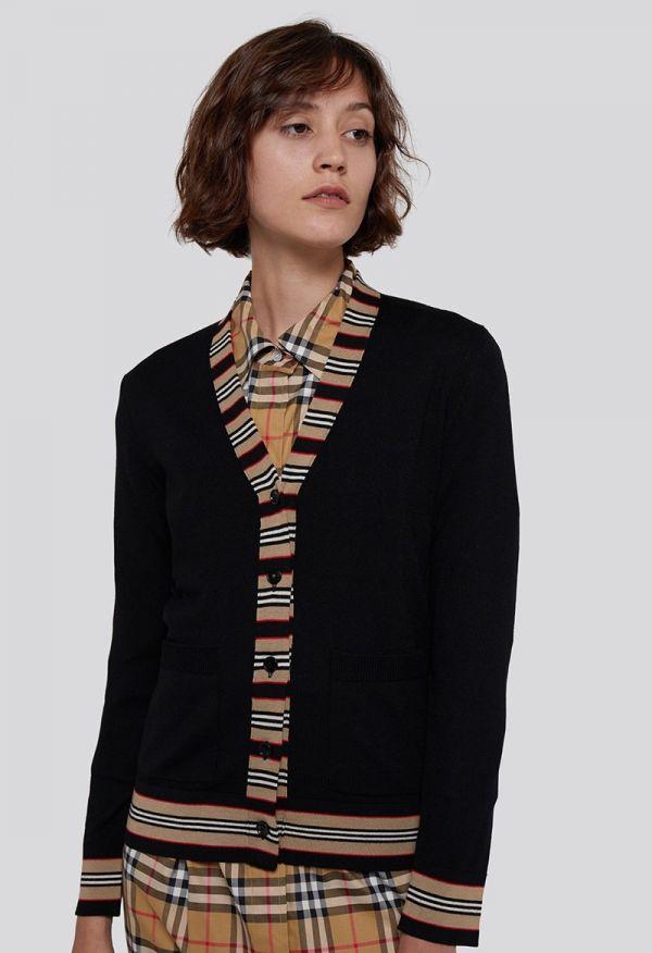 Burberry 女款標誌性條紋細節美麗諾羊毛開襟針織衫外套  S/M
