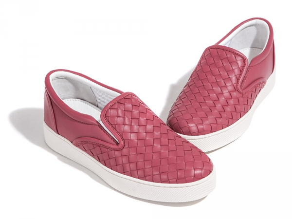 Bottega Veneta 珊瑚粉色小羊皮編織女款休閒球鞋  IT 36.5/37