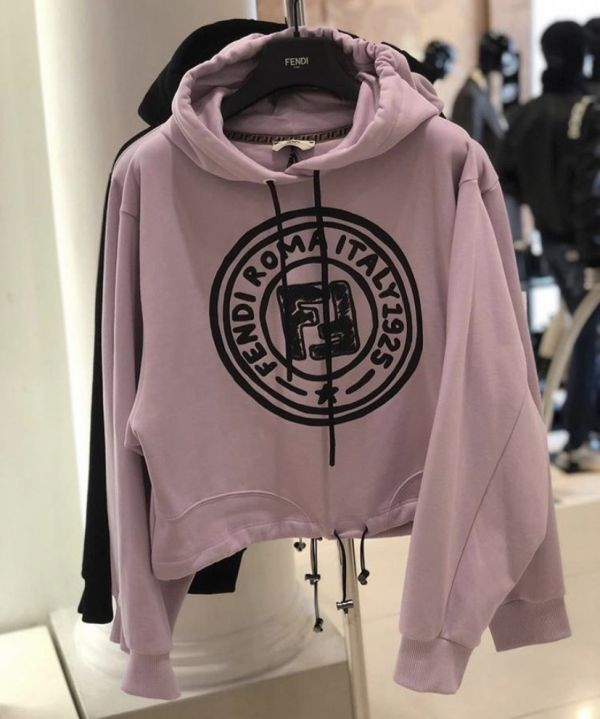 Fendi Logo 徽標粉紅色棉質連帽運動衫上衣 L