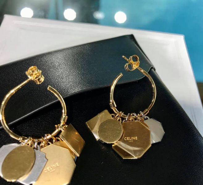 Celine 雙電鍍金色及鍍銠黃銅Composition耳環 YSL COLLEGE學院包