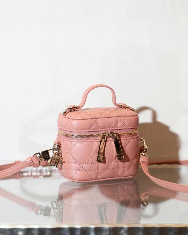Dior Micro Diortravel Cannage 藤格紋圖案羊皮包  粉色 Bottega Veneta