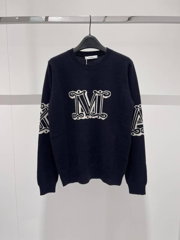 Max Mara 女款喀什米爾羊絨針織衫上衣 黑色  XS/M