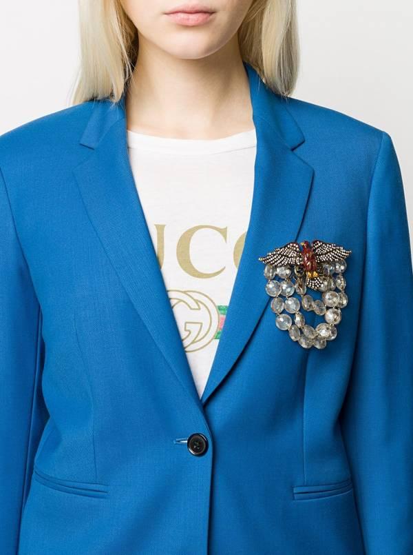 Gucci水晶綴飾大型老鷹胸針 YSL COLLEGE學院包