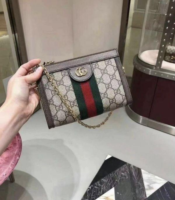 Gucci 602676 Ophidia GG Supreme 金鍊小方包
