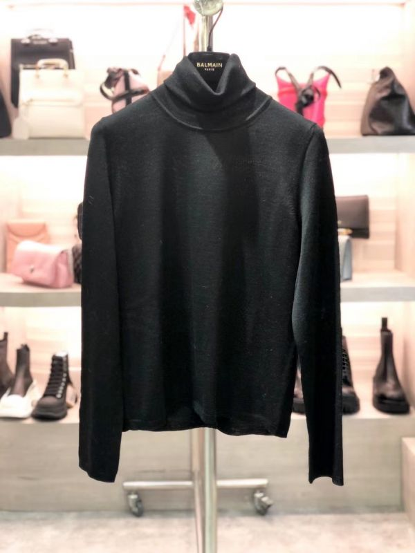 Max Mara Studio 女款高領喀什米爾混紡針織衫羊毛上衣  黑色  S/M/L