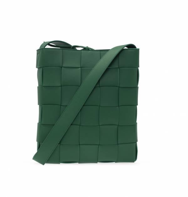 Bottega Veneta 649601 寬編織款郵差斜背包    綠色