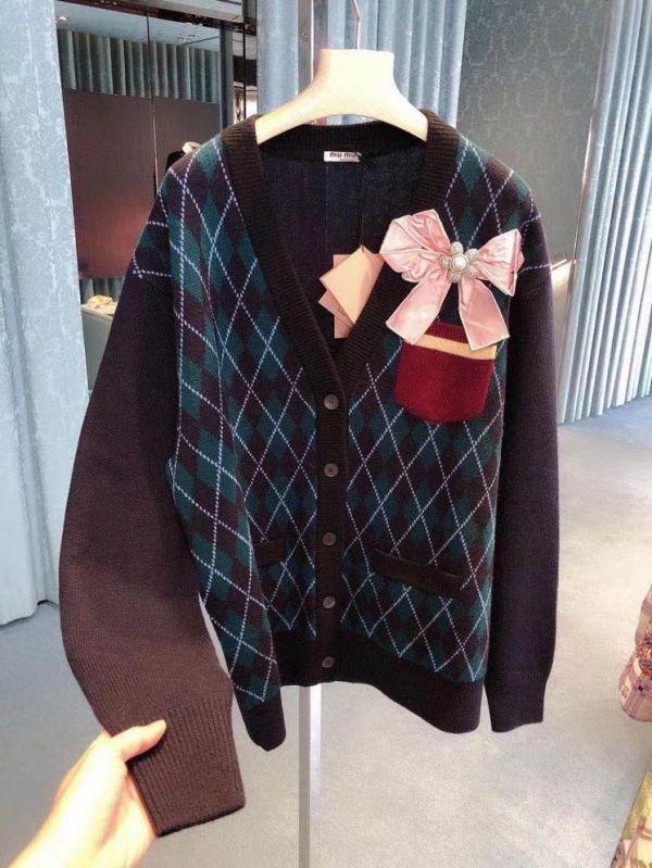 Miu Miu 初剪羊毛蝴蝶接裝飾開襟衫上衣     36/38/40/42