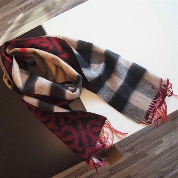 Burberry 80224081 雙面兩用格紋和花押字喀什米爾圍巾    亮紅色
