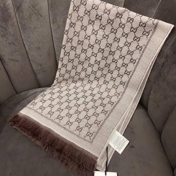 Gucci 411115 淺米色和深棕色GG提花圖案有機羊毛 流蘇邊緣