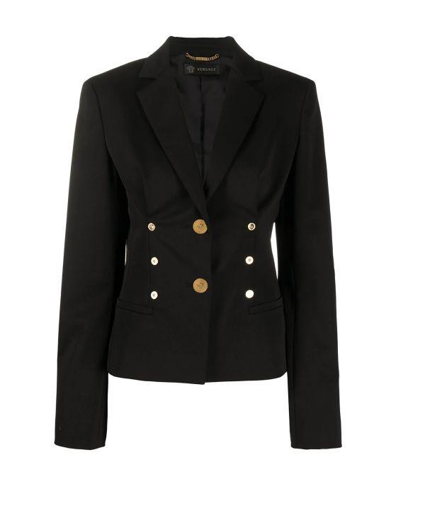 Versace 女款初羊毛混紡單排扣西裝外套    IT 44L/46XL