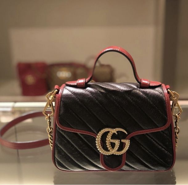 Gucci 583571 Mini GG Marmont 櫻桃紅滾邊手提肩背兩用翻蓋包
