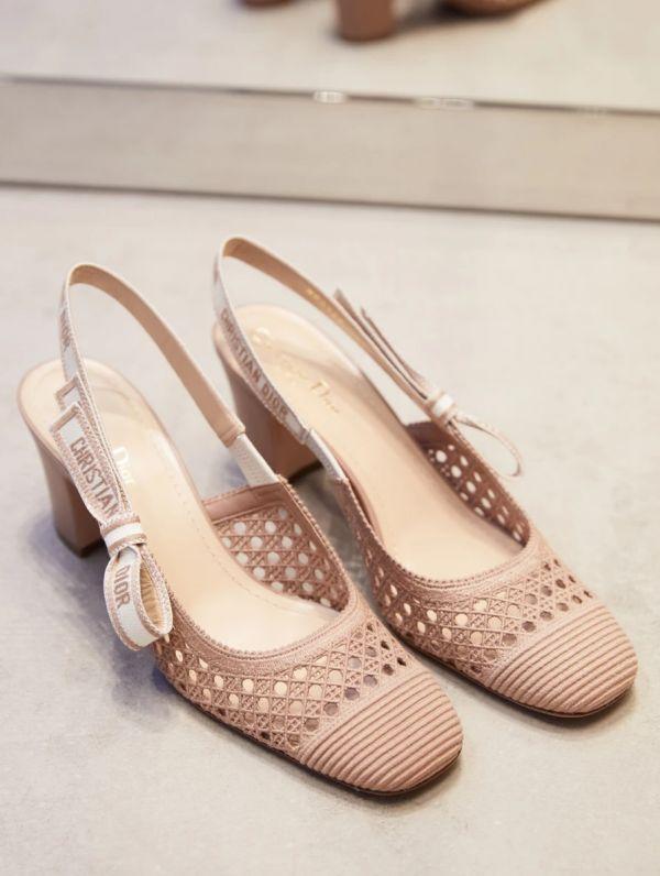 Dior DIOR & MOI  裸色 Cannage 藤格紋圖案網眼刺繡露跟高跟鞋    IT 36.5/37/38/39/39.5/40.5/41 Bottega Veneta