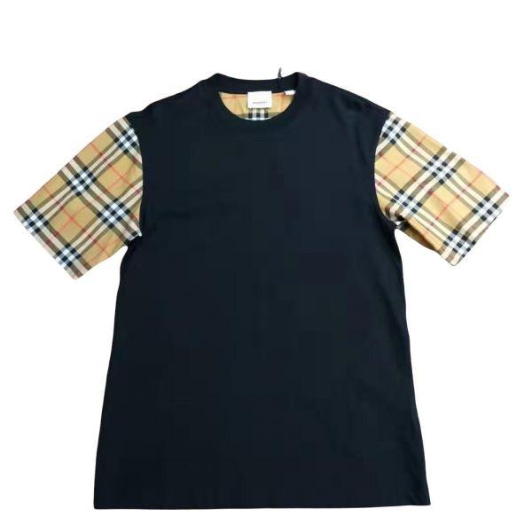 Burberry 80430571 女性款 Vintage 格紋衣袖棉質 T 恤上衣  XXS/XS