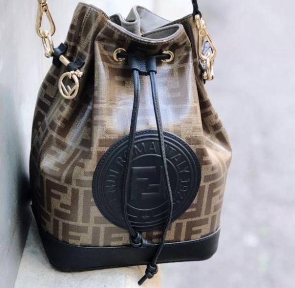 Fendi 芬迪 Mon Tresor  防潑水材質及小牛皮拼接FF Logo徽標水桶包