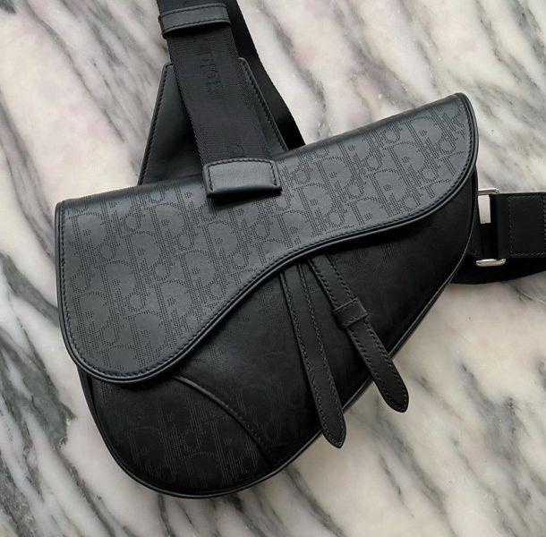 Dior 迪奧 Oblique Saddle 緹花馬鞍肩背包 黑色
