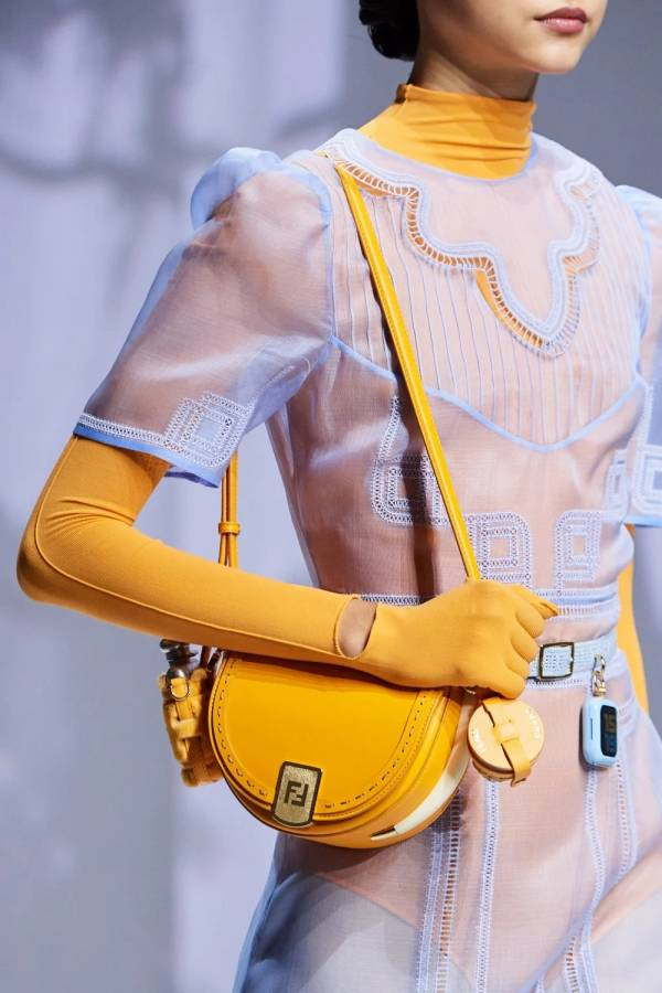 Fendi 8BT346 玳瑁色裝飾  手工Moonlight馬鞍包   黃色