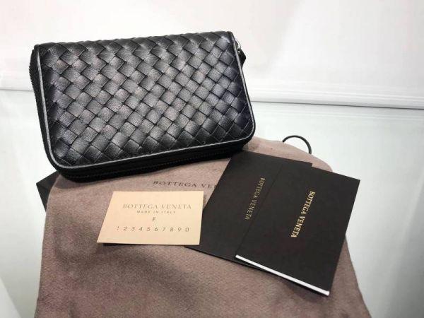 Bottega Veneta 464850 小羊皮編織拉鍊皮夾     黑色 YSL COLLEGE學院包
