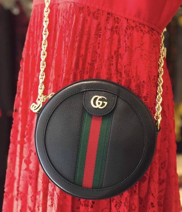 """Gucci GG Ophidia  """"supreme"""" 小牛皮小圓餅包 黑色"""
