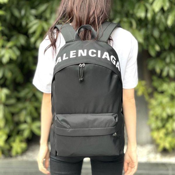 Balenciaga 507460 Wheel Logo 帆布後背包  黑色