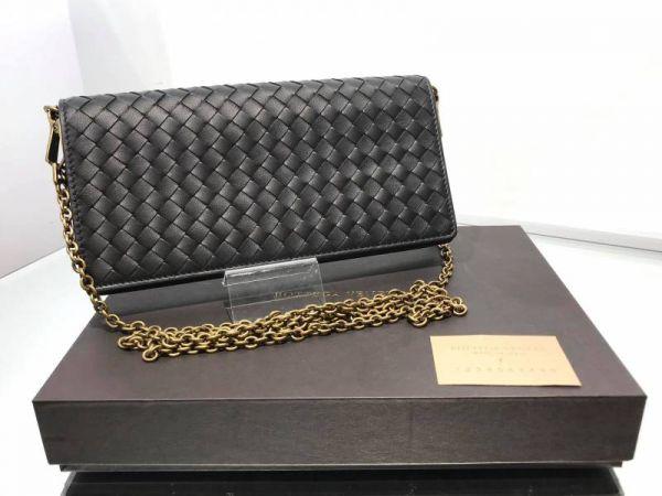 Bottega Veneta 510564 經典小羊皮編織釦式皮夾/鍊帶包