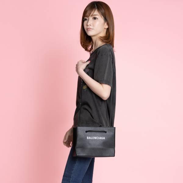 Balenciaga 531546 購物袋造型小牛皮兩用包    黑色