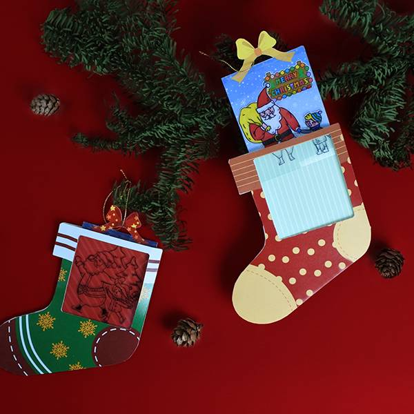 反轉黑白人生-聖誕變色卡片-襪子 聖誕節,DIY,卡片,著色,繪圖,襪子