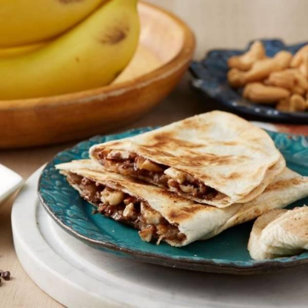 墨美味|榛果巧克力香蕉薄餅 [奶素可] [無起司] [1入] [110g] [20cm半圓] 歐洲巧克力醬,香蕉,堅果,甜薄餅,奶素,墨美味,墨西哥餡餅