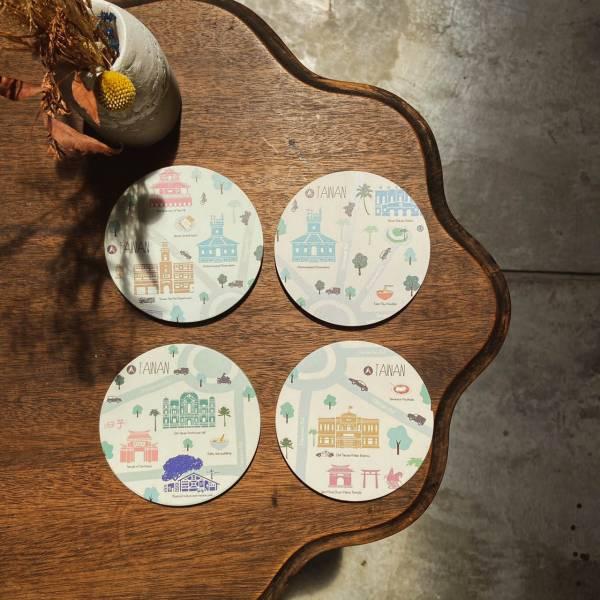 陶瓷吸水杯墊-臺南圓環系列 花磚,杯墊,原印臺南,浮雕技術,UV印刷,文創商品,台南,紀念品,辦公室小物,禮物,母親節,情人節,父親節,兒童節,生日禮物,伴手禮