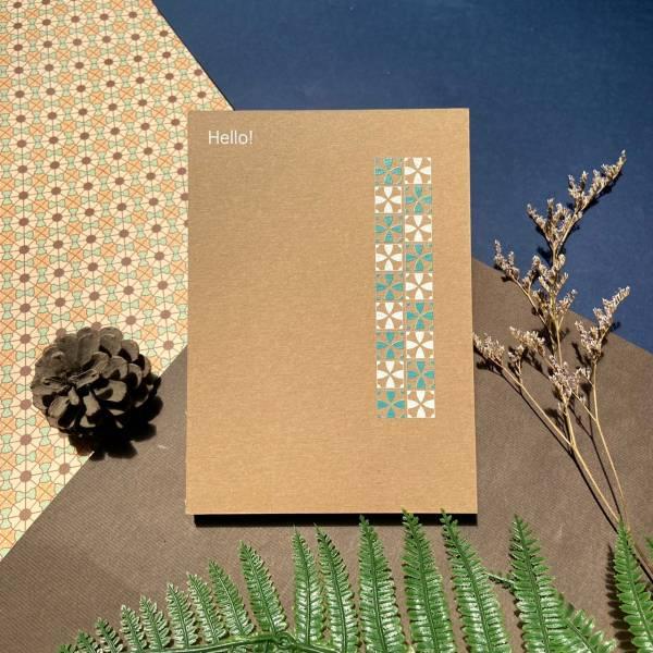 白綠花磚 - 手工線膠裝筆記本 卡其/黑 米色道林紙,全開頁,筆記本,裸背線膠裝,日記,手帳