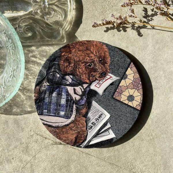 陶瓷吸水杯墊-缺磚紅貴賓 花磚,杯墊,原印臺南,浮雕技術,UV印刷,寵物,狗,陶瓷吸水杯墊,紅貴賓