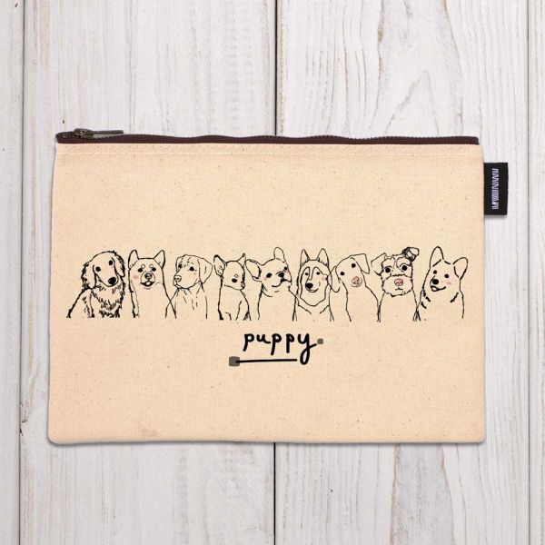 Puppy- 合成帆布拉鍊包 臺南,合成帆布,拉鍊包,布包,UV印刷,原印臺南,ZIP FLAT POUCHE,犬,狗,動物,插畫,黑白線條