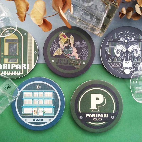 Paripari apt. 聯名款陶瓷吸水杯墊 小物,禮物,紀念品,臺南,Paripari,聯名款