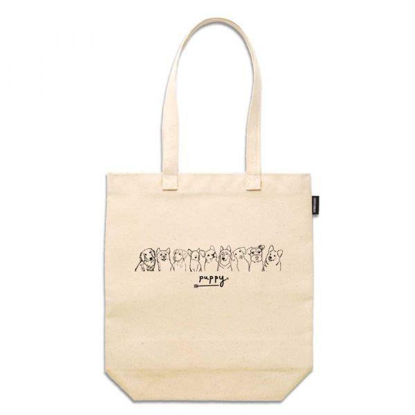 Puppy - 合成帆布托特包 臺南,合成帆布,托特包,小內袋,布包,UV印刷,原印臺南,TOTE BAG,狗,插畫,寵物,黑白線條