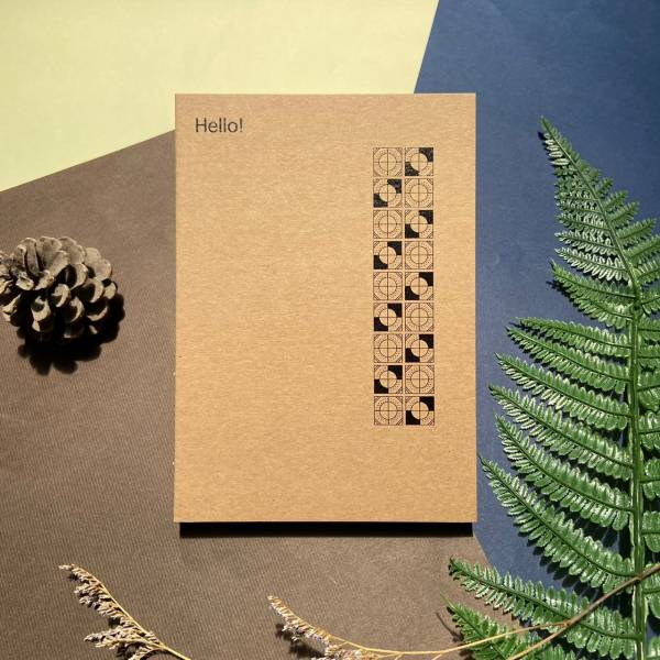 黑白花磚系列 - 1 - 手工線膠裝筆記本 米色道林紙,全開頁,筆記本,裸背線膠裝,日記,手帳