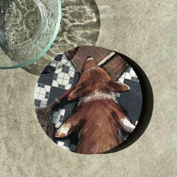 陶瓷吸水杯墊-缺磚柯基 花磚,杯墊,原印臺南,浮雕技術,UV印刷,寵物,狗,陶瓷吸水杯墊,柯基