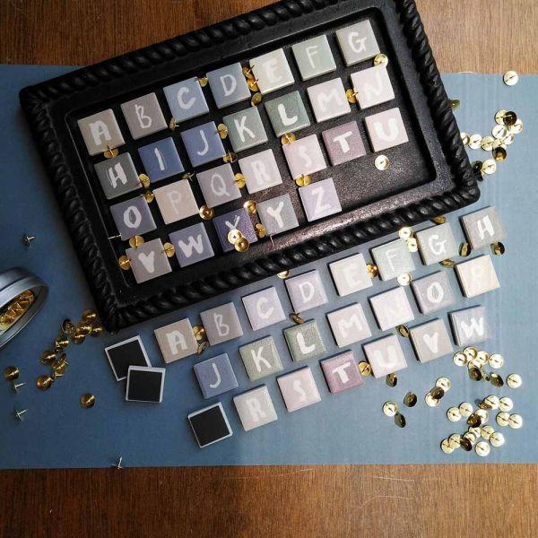 原印字母瓷磚磁鐵單顆 - 莫蘭迪色系 MORANDI 磁磚,異方性軟磁鐵,英文字母,冰箱磁鐵,黑板磁鐵,留言板磁鐵,禮物,手寫字體,莫蘭迪色系