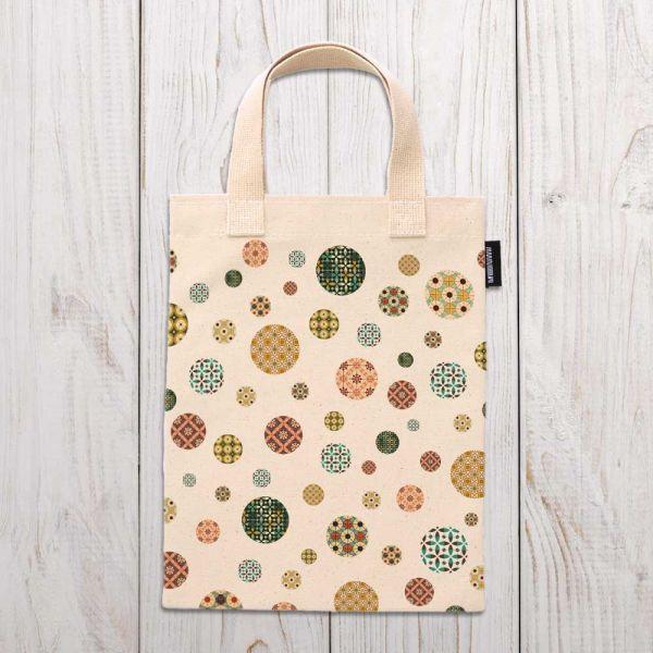 圓點花磚(滿版)- 合成帆布手提袋 臺南,合成帆布,手提袋,布包,UV印刷,原印臺南,HAND BAG,花磚