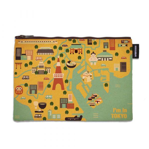 東京系列 - 東京地圖 - 拉鍊包 臺南,合成帆布,拉鍊包,萬用包