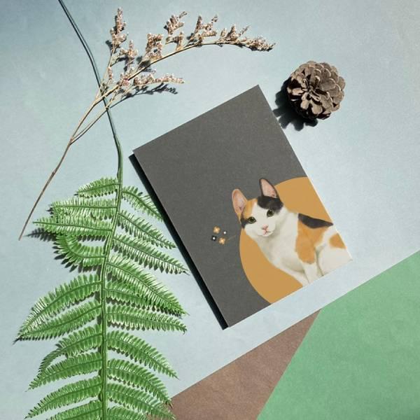 寵物友善城市系列 - 日本短毛貓 - 手工線膠裝筆記本 卡其/黑 米色道林紙,全開頁,筆記本,裸背線膠裝,日記,手帳