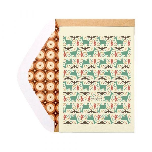 福祿平安賀年卡 花磚,卡片,羊毛紙,母親節,新年賀卡,萬用卡,聖誕節