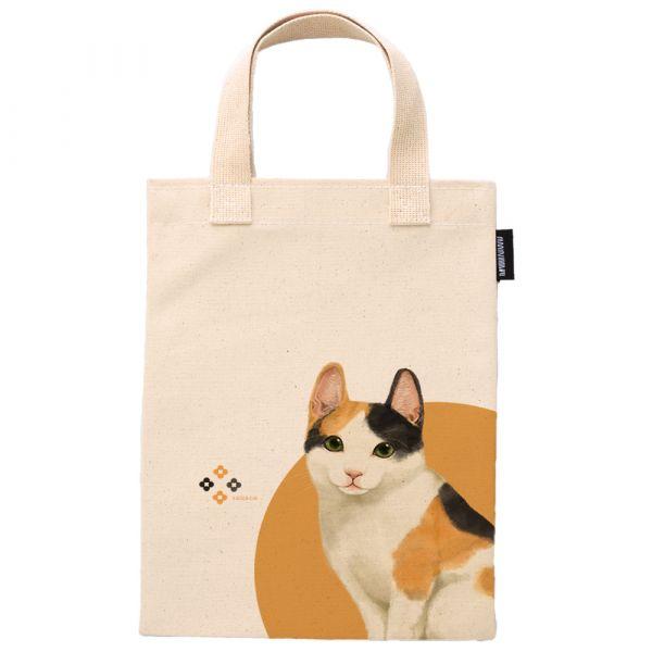日本短毛貓 - 合成帆布手提袋 臺南,合成帆布,手提袋,寵物,狗派,貓派,布包,UV印刷,原印臺南,動物,ZIP FLAT POUCHE,日本短毛貓