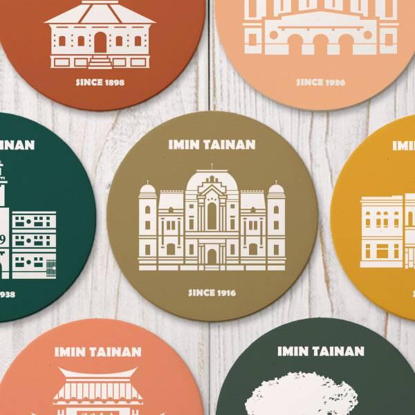 陶瓷吸水杯墊-彩色建築系列 臺南,陶瓷吸水杯墊,UV印刷,彩色建築