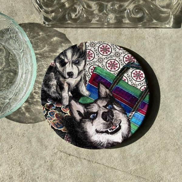 陶瓷吸水杯墊-缺磚哈士奇 花磚,杯墊,原印臺南,浮雕技術,UV印刷,寵物,狗,陶瓷吸水杯墊,哈士奇